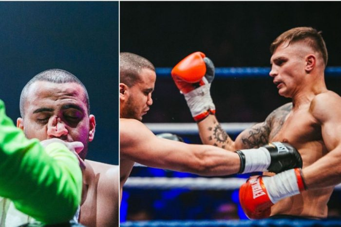 """Sergei Masloboyev went to the ring with Stasys Povilaitis song """"Light to me again"""", but it was a dark evening for his rival- fighter from Morocco Noureddine Ajnaou"""